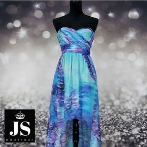 JS Boutique Watercolor High Low Strapless Dress